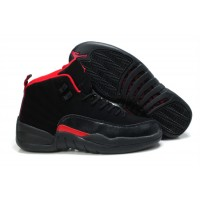 Air Jordan 12 Retro Nubuck GS Black Siren Red