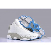 Air Jordan 13 Top Layer Calf Leather White Grey Blue For Sale