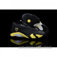 "Air Jordan 14 Retro Low ""Thunder"" Black/Vibrant Yellow-White Cheap"