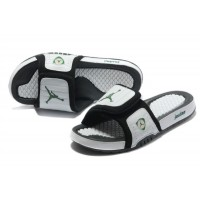 Jordan 14 White Black Classic Green Sandals