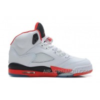 New Arrival Air Jordans 5 Retro White/Fire Red-Black For Sale