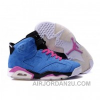 Air Jordan 6 Suede Leather Blue For Sale