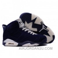Air Jordan 6 Suede Leather Black Navy For Sale
