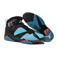 Cheap New Air Jordan 7 Black Blue Orange Shoes