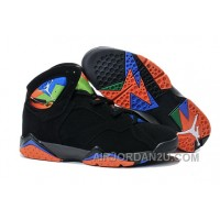 Cheap New Air Jordan 7 Black Orange Shoes