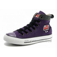 Cool CONVERSE Womens Embroidery Purple High Tops Chucks All Star Canvas Grey Suede Easy Slip Free Shipping Zbwia