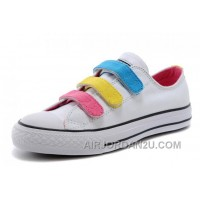 White CONVERSE Chuck Taylor 3 Straps Pink Yellow Blue Preschool All Star Velcro Sneakers Lastest TBhdm