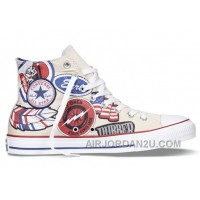 CONVERSE All Star American Retro Pattern Printing White High Ps Chuck Taylor Canvas Sneakers Cheap To Buy DmGJA