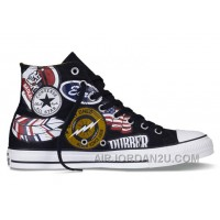 Retro Pattern CONVERSE American Printing Black High Tops Chuck Taylor All Star Canvas Sneakers Christmas Deals J4JH6