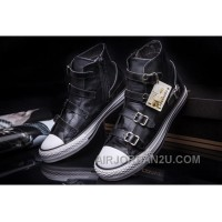 CONVERSE VS ASH Multi Buckles Black Leather Chuck Taylor All Star High Ps Sneakers Cheap To Buy EQYA3