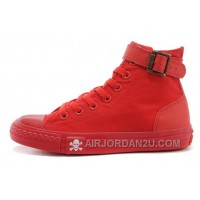 CONVERSE All Red All Star High Ps Single Buckle Skull Canvas Chuck Taylor Sneakers Cheap To Buy Ckzb4