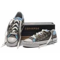 CONVERSE Double Upper Doule Tongue All Star Grey Blue Tops Canvas Casual Shoes Online NDFDx