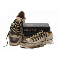 All Star CONVERSE Rens Double Upper Tongue Oxford Tops Beige Canvas Orange Plaid Brown Toe And Laces Shoes Hot Now DhSkT