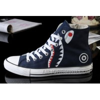 Blue All Star CONVERSE Shark Printed High Tops Zipper Canvas Shoes Authentic NFG2Q