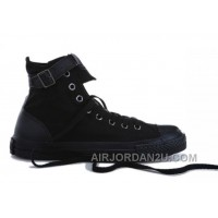 Black Monochrome CONVERSE High Tops Buckles Canvas Shoes Free Shipping SDdiC