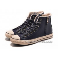 Blue CONVERSE Winter Boots Wool Inner Side Zip High Leather For Sale Etihw