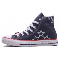 Blue High CONVERSE Star Embroidery Chuck Taylor All Star Canvas Shoes For Sale DrRZt