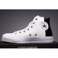 CONVERSE White Leather Two Panels Chuck Taylor All Star High Tops Christmas Deals RBr78