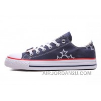 Blue CONVERSE Star Embroidery CT All Star Canvas Shoes Hot Now QdeKC