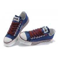 All Star Blue Red CONVERSE Multi Lines Tops Canvas Shoes Lastest A4m2m