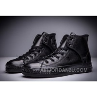 All Black CONVERSE All Star Leather Side Velcro High Tops Free Shipping Ffjnp