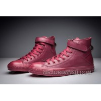Monochrome Red CONVERSE Single Buckle All Star High Tops Leather Online DYKj2