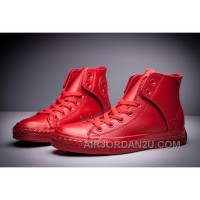 All Red All Star CONVERSE Leather Side Velcro High Tops Online HS5nM