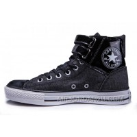 Black All Star CONVERSE Double Buckles Chuck Taylor Shiny Leather Canvas High Tops Sneakers For Sale WD6eX