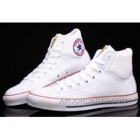 White CONVERSE Chuck Taylor Embroidery Padded Collar Leather All Star Christmas Deals GKJdC