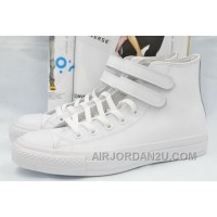All Star All White Leather CONVERSE Double Velcro Chuck Taylor High Shoes Lastest Kb8Ya