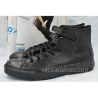 All Star Full Black Leather CONVERSE Double Velcro Chuck Taylor High Shoes Discount JmXmE