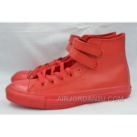 Pure Red Leather CONVERSE Double Velcro Harley CT AS High Free Shipping W4XQA