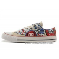 CONVERSE American Retro Pattern Printing White Tops Chuck Taylor All Star Canvas Sneakers Hot Now PbZkY