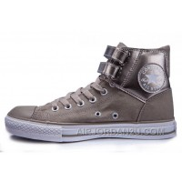 All Star CONVERSE Two Buckles Chuck Taylor Shiny Grey Leather Padded Collar High Tops Sneakers Discount 2dCt8