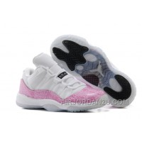"New Girls Air Jordan 11 Retro Low ""Pink Snakeskin"" White/Cherry Pink-Black For Sale"