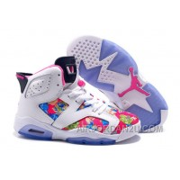 "New 2016 Girls Air Jordan 6 ""Floral Print"" White Pink Shoes For Sale"