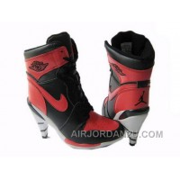 Women's Nike Air Jordan 1 High Heels Shoes Black/Red/White For Sale