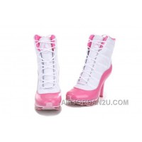 Women's Nike Air Max Jordan 11 High Heels Shoes White/Pink Discount