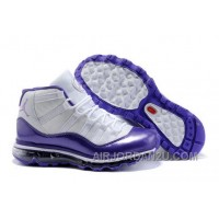 Women's Nike Air Max Jordan 11 Shoes White/Dark Purple Discount