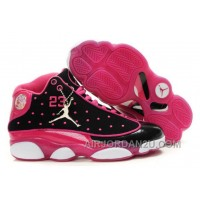 New Arrival Women's Nike Air Jordan 13 Shoes Black/Dark Pink/White