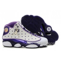 Hot Women's Nike Air Jordan 13 Shoes White/Dark Purple