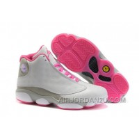 Hot Women's Nike Air Jordan 13 Shoes White/Grey/Pink