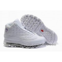 Women's Nike Air Max Jordan 13 Shoes All White Discount