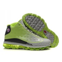 Women's Nike Air Max Jordan 13 Shoes Grey/Green/Black Hot