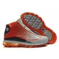 Women's Nike Air Max Jordan 13 Shoes Grey/Orange/Black Hot
