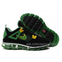 Cheap Men's Nike Air Max Jordan 4 Shoes Black/Green/Yellow