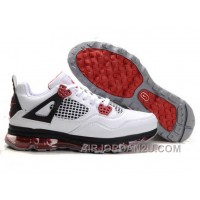 Cheap Men's Nike Air Max Jordan 4 Shoes White/Black/Red