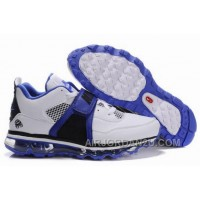 Cheap Men's Nike Air Max Jordan 4 Shoes White/Blue/Black