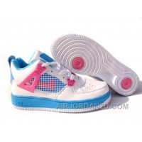 Women's Nike Air Airforce 1 & Jordan 4 Shoes White/Sky Blue/Pink New