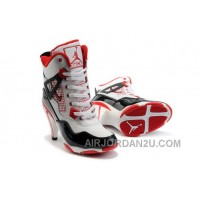 Women's Nike Air Jordan 4 High Heels Shoes White/Black/Red Cheap